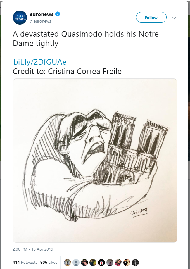 Quasimodo holds the Notre Dame cathedral tightly while crying. Quasimodo is from the Disney movie The Hunchback of Notre Dame (1996 film).