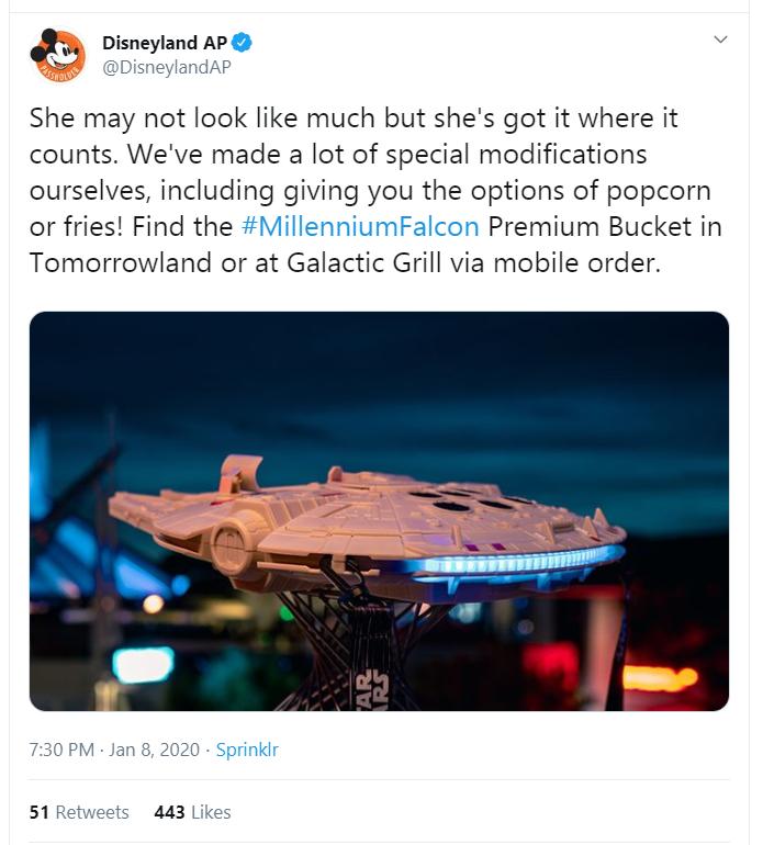 Tweet showing the new Millennium Falcon popcorn or fries bucket.